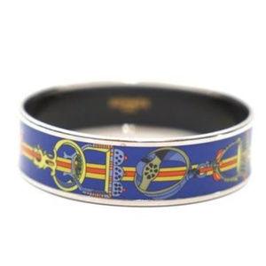 Authentic Hermes Silver Trim Enamel Bracelet 65
